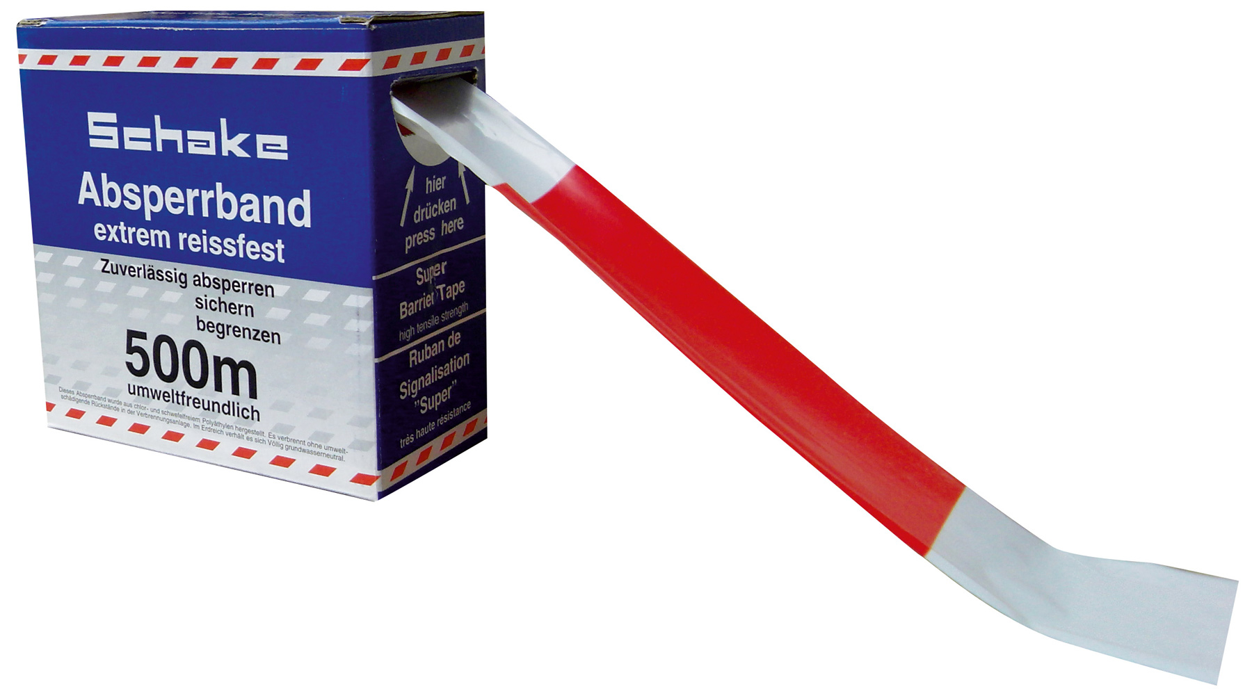 Schake Absperrband doppelseitig bedruckt rot | weiß