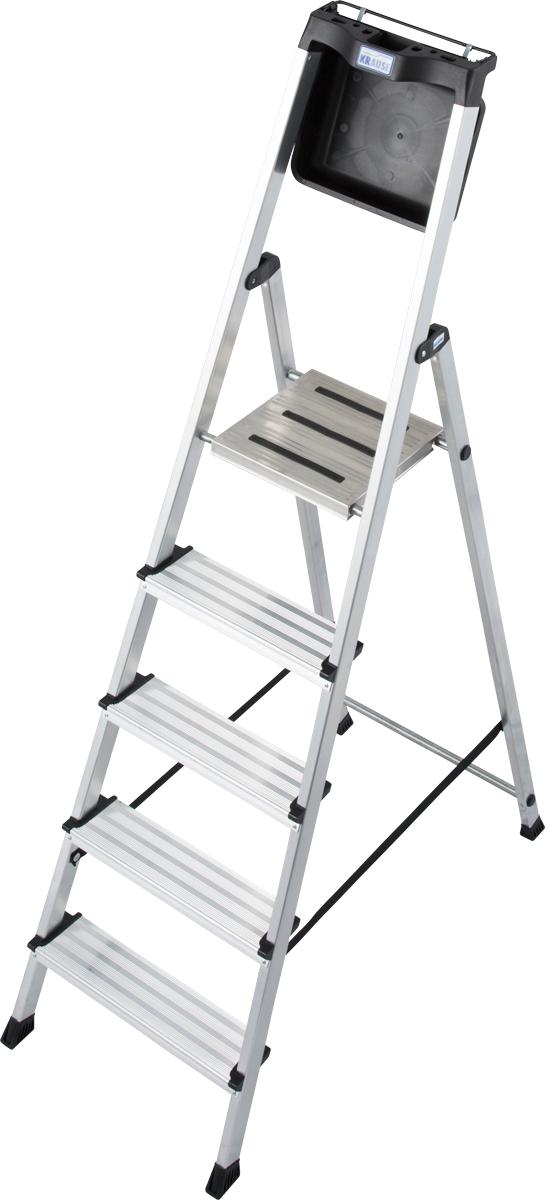 Krause Alu-Stufenstehleiter Secury mit MultiGrip 5 Stufen