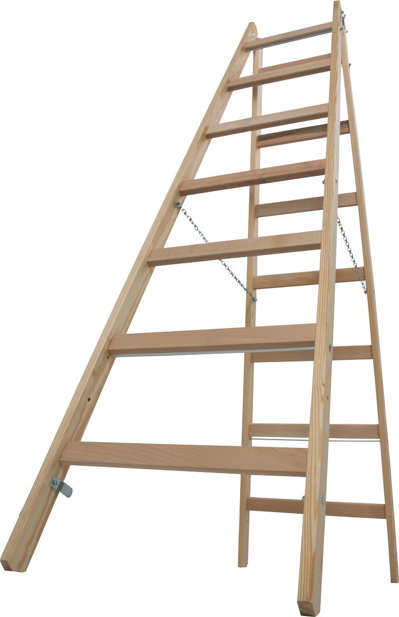Krause Holz-Sprossendoppelleiter 2x7 Sprossen