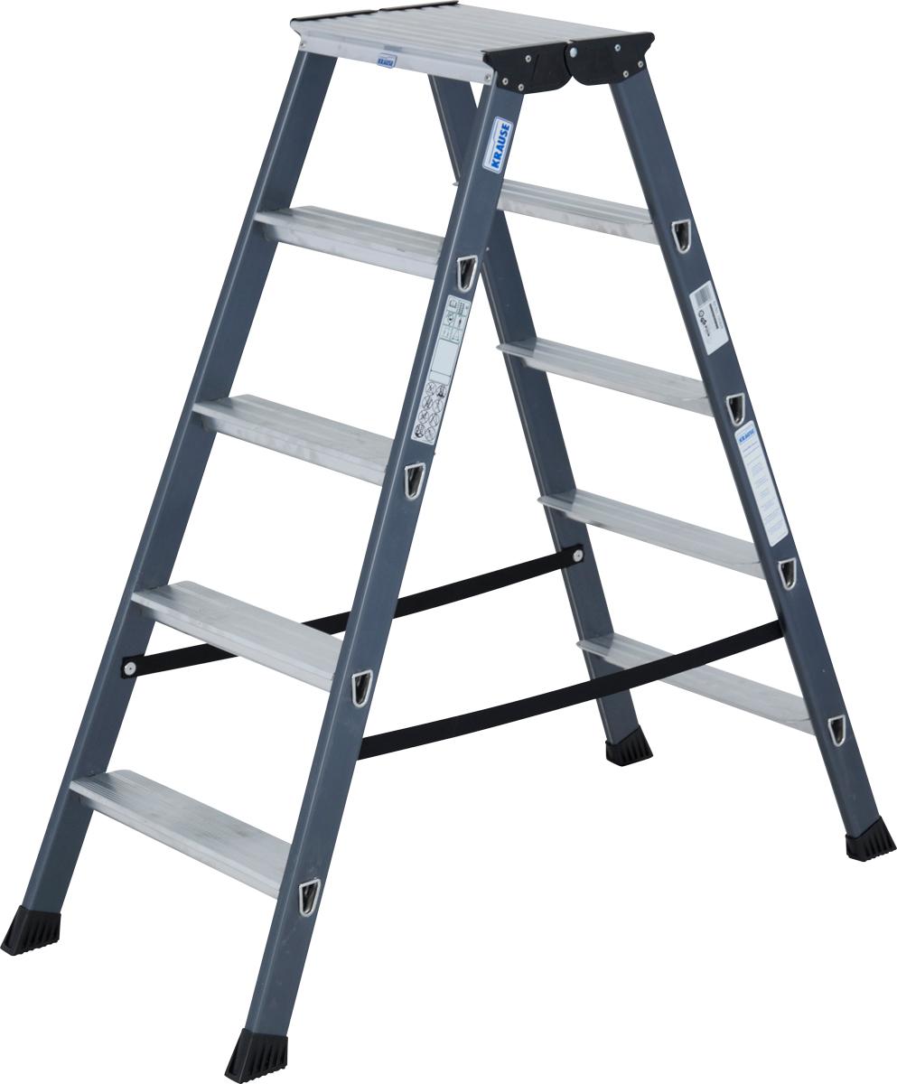 Krause Alu-Stufendoppelleiter SePro® D eloxiert 2x5 Stufen