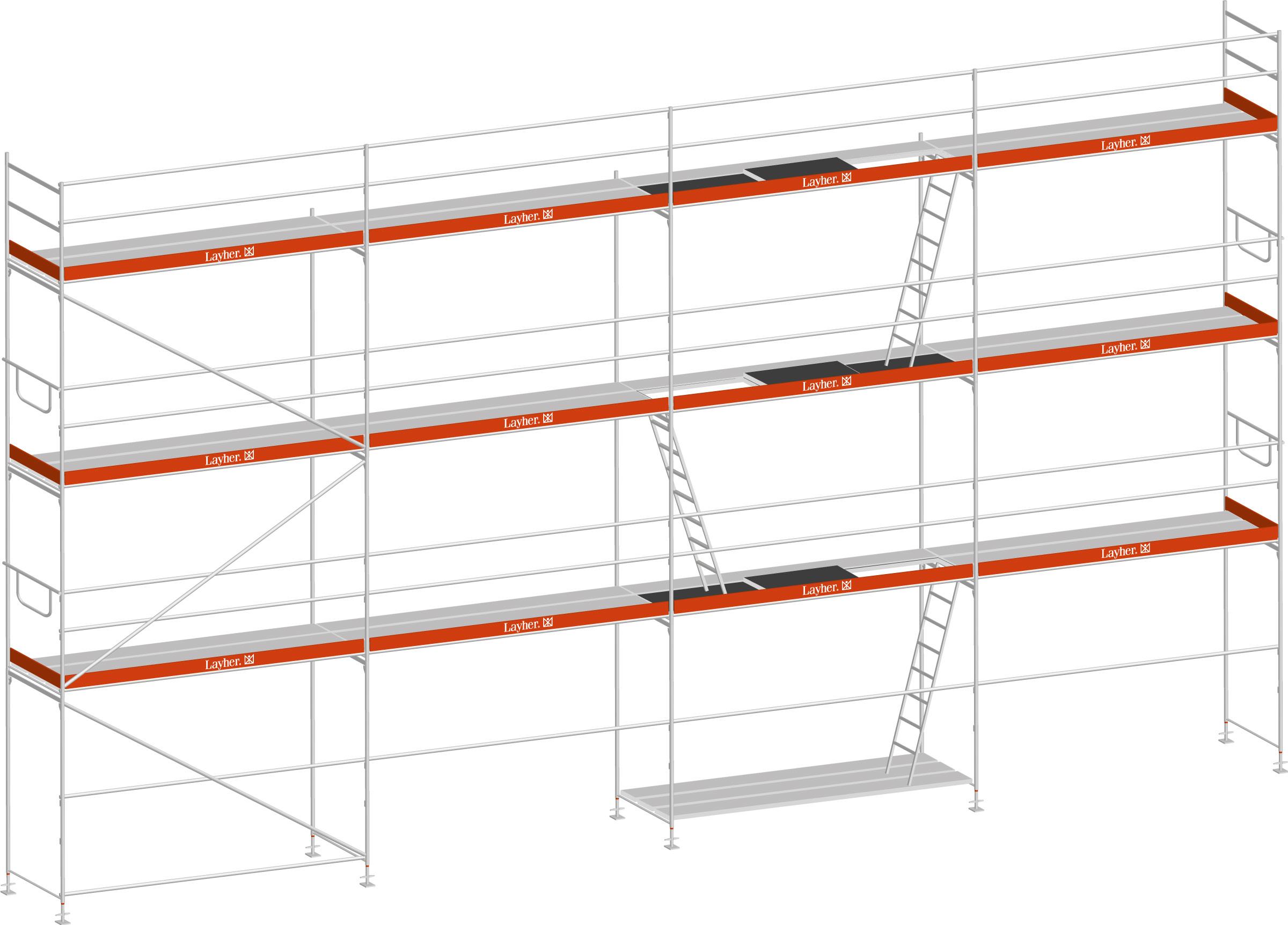Layher Blitz Gerüst 100 Stahl 84 m²