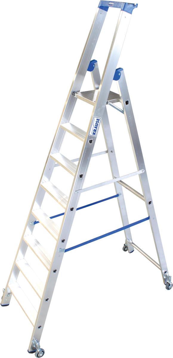 Krause Alu-Stufenstehleiter fahrbar 8 Stufen