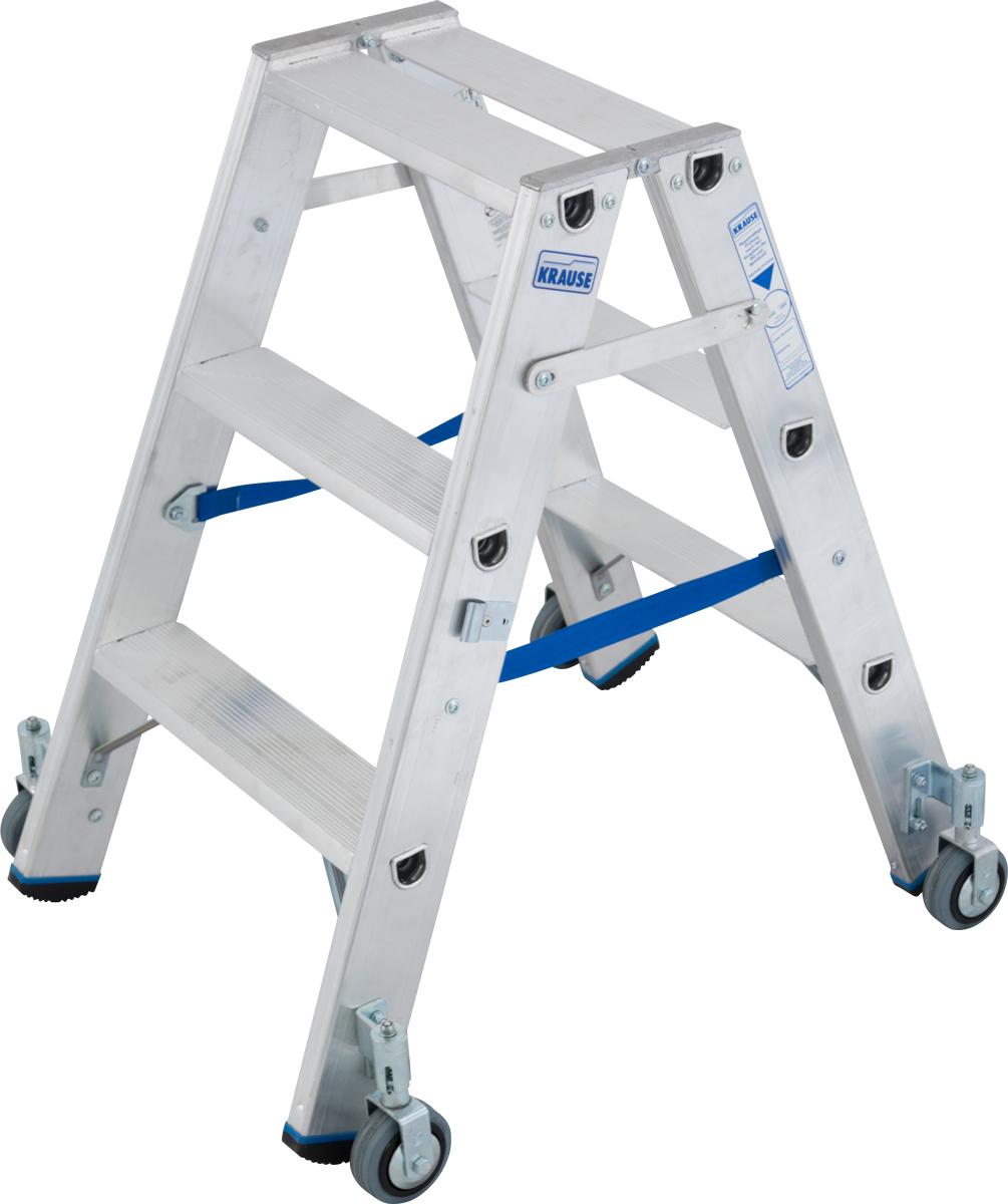 Krause Alu-Stufendoppelleiter fahrbar 2x3 Stufen