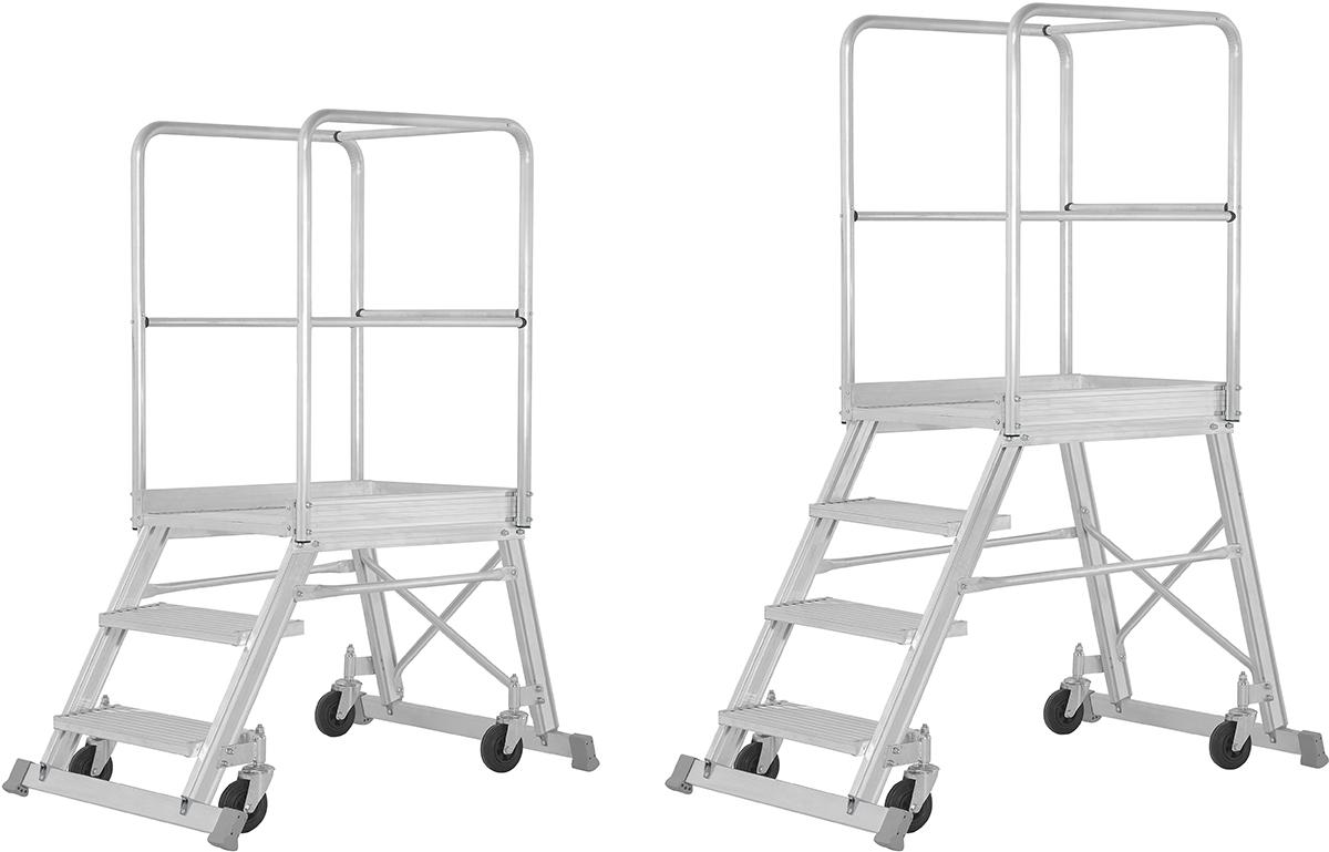 Hymer Podesttreppe fahrbar 3 - 8 Stufen - mit Umlaufgeländer