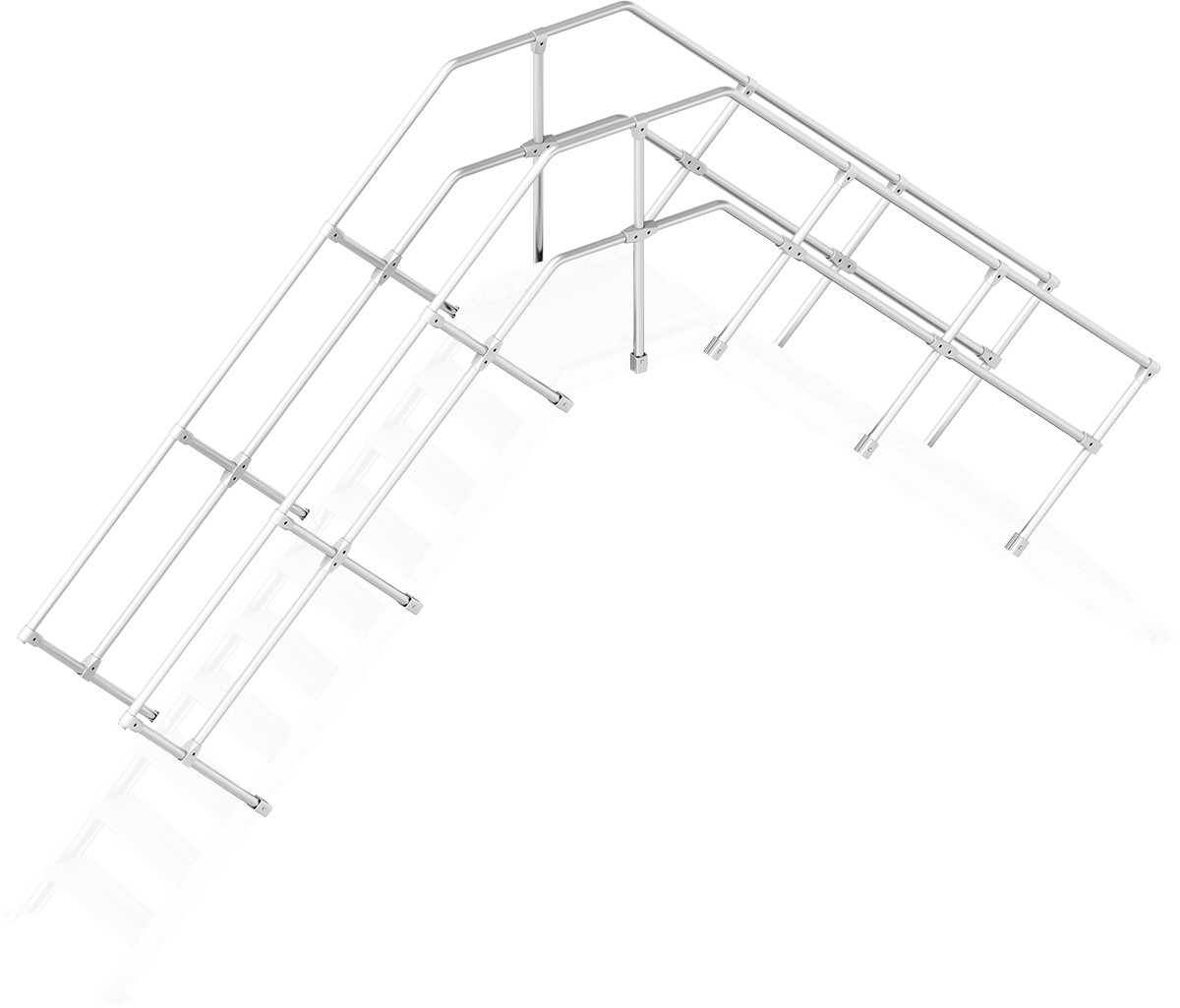 Layher Handlauf Geländer Übergang 45° 10 Stufen