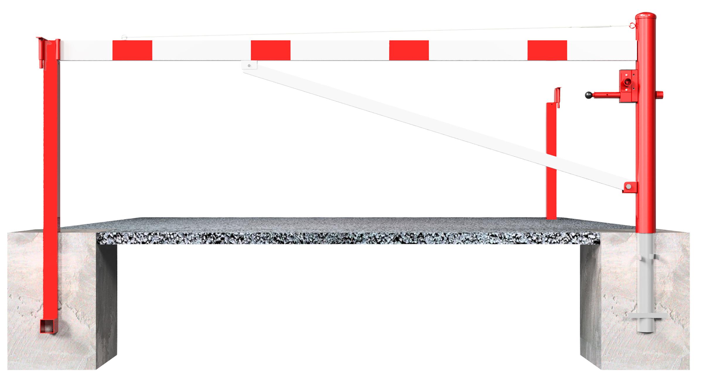 Schake Drehschranke mit Auflagestütze - Schrankenbaum 100 x 50 mm weiß | rot