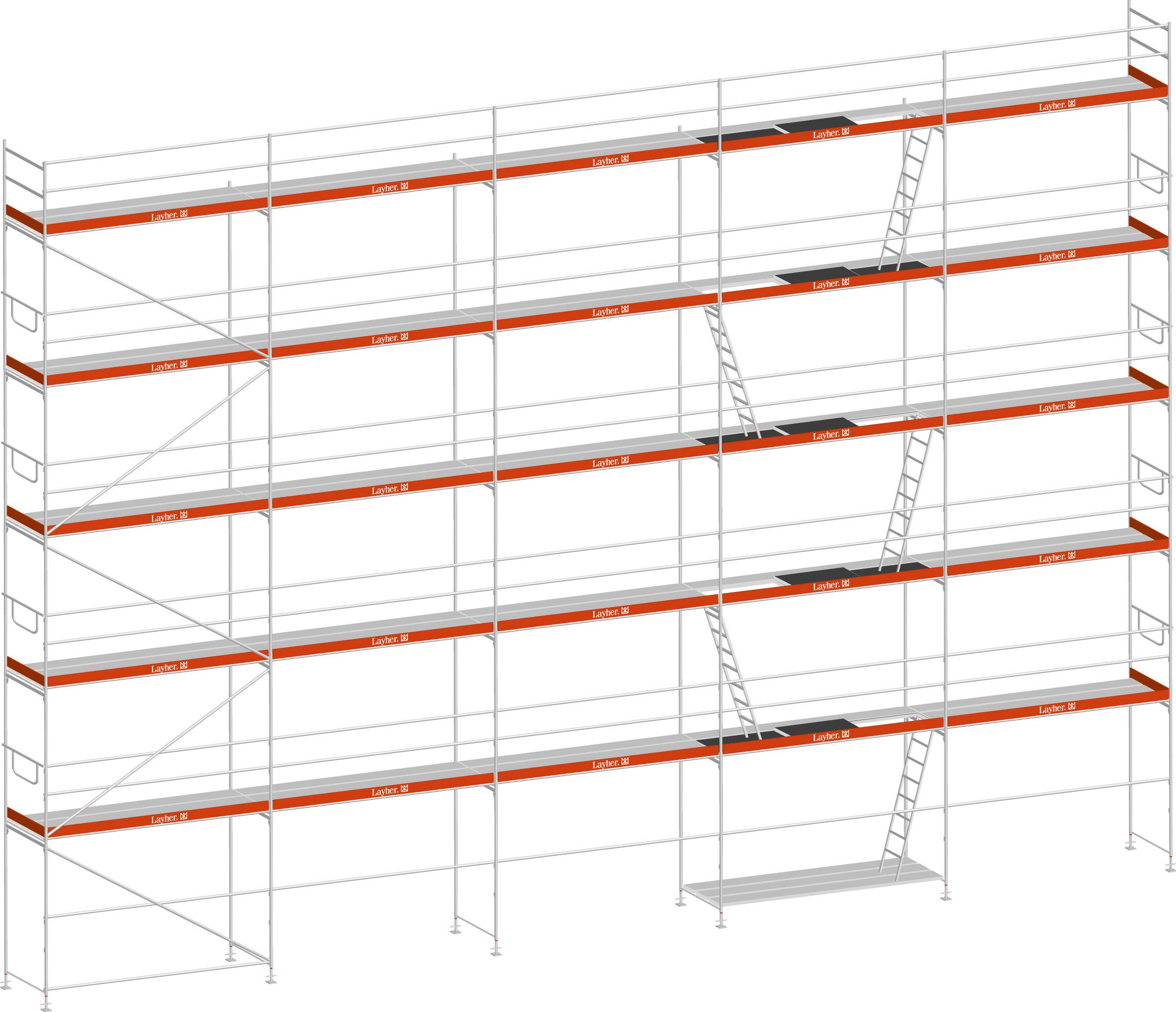 Layher Blitz Gerüst 100 Stahl 157 m²