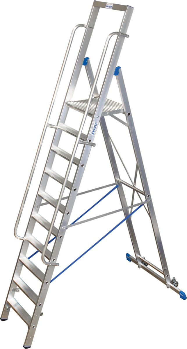 Krause Alu-Stufenstehleiter mit großer Standplattform 10 Stufen