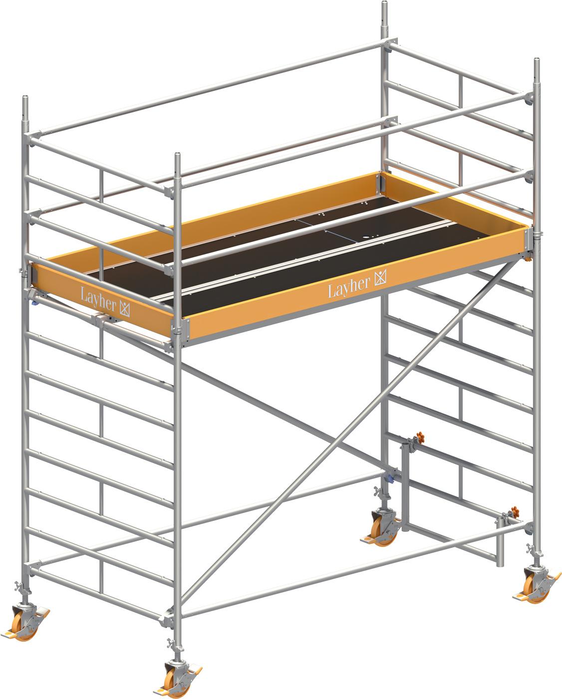 Fahrgerüst Layher Uni Breit 2102 mit Geländer-Optimierung