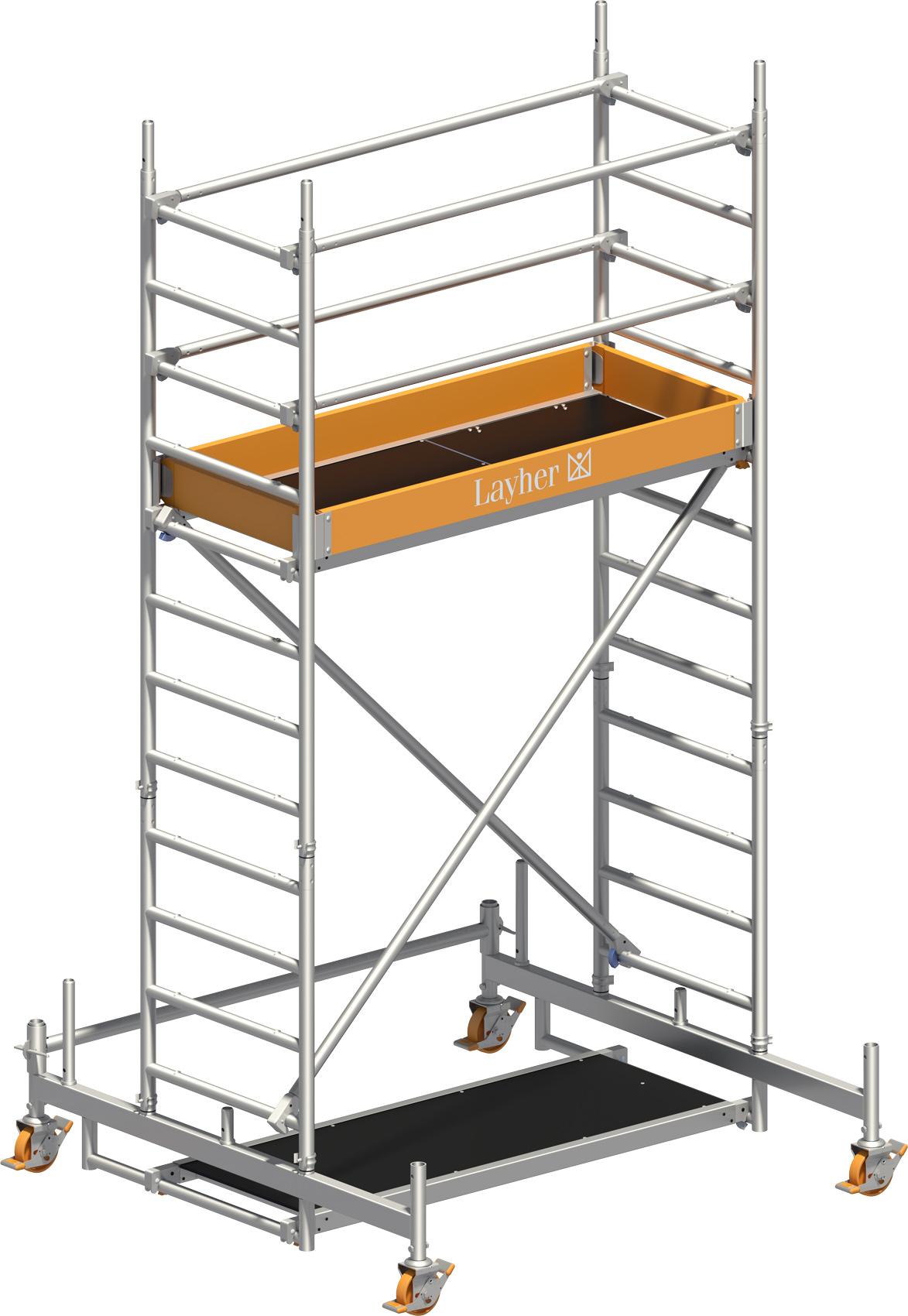 Rollgerüst Layher Uni Leicht P2 1403202 mit Diagonal- und Lenkrollen-Optimierung