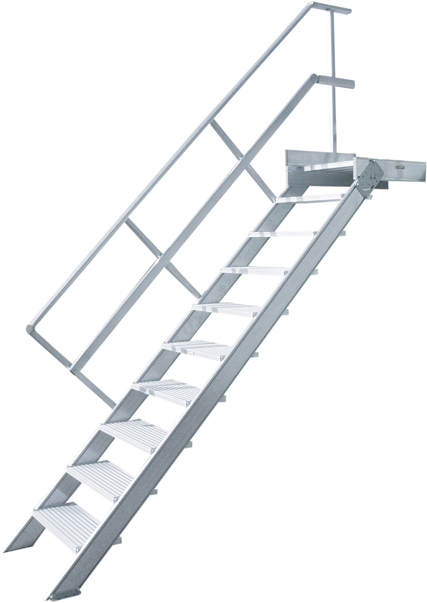Hymer Podesttreppe 45° - 1000 mm breit - mit einem Handlauf