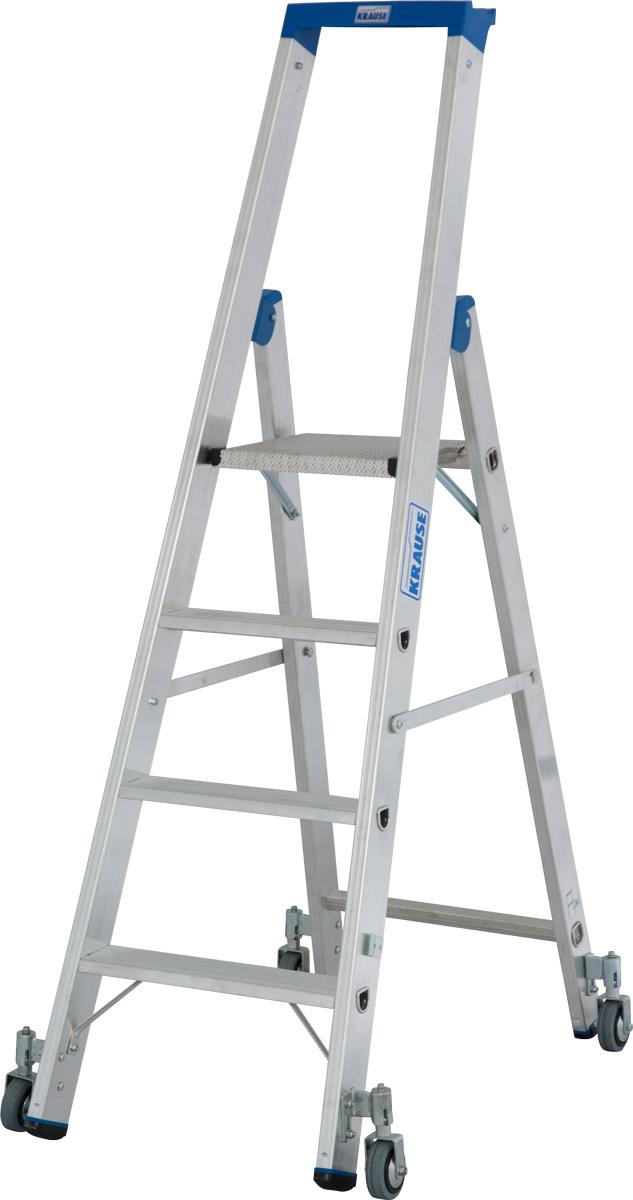 Krause Alu-Stufenstehleiter fahrbar 4 Stufen