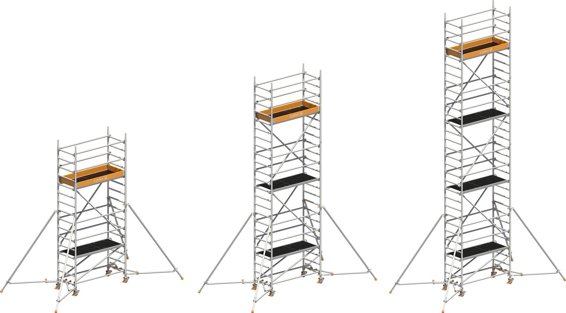 Layher Uni Leicht Alu-Fahrgerüst P2 mit ausziehbaren Stützen