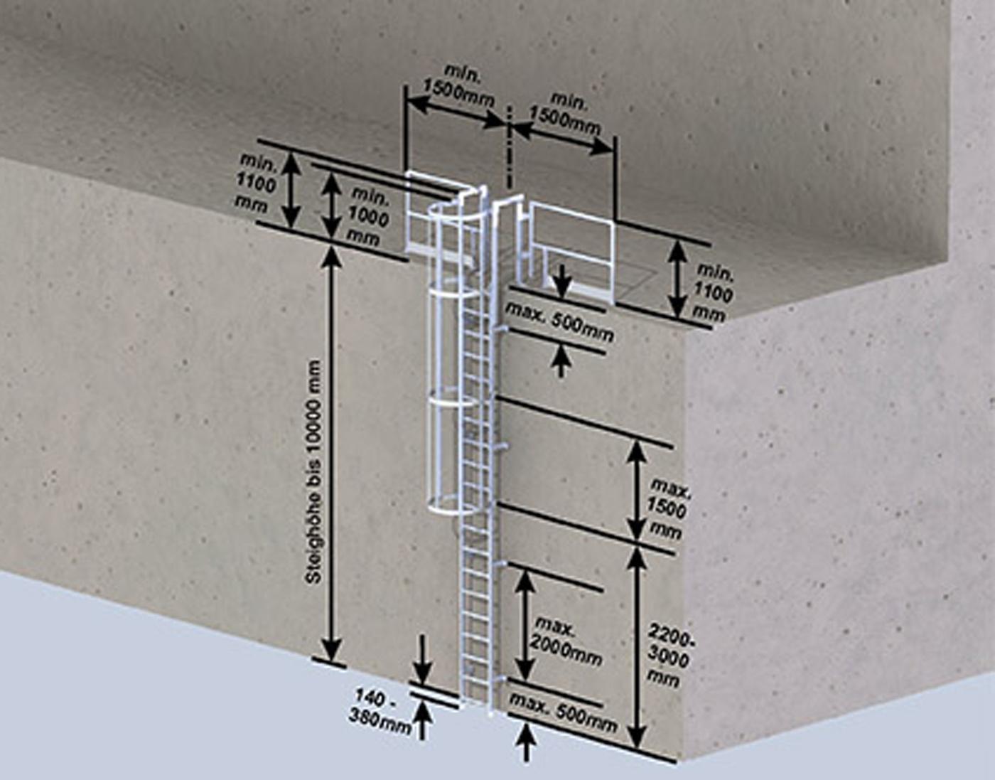 Günzburger Steigleiter mit Rückenschutz Alu blank - DIN 14094-1