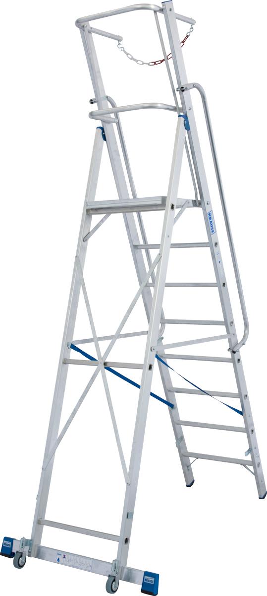 Krause Alu-Stufenstehleiter mit großer Standplattform SB 9 Stufen