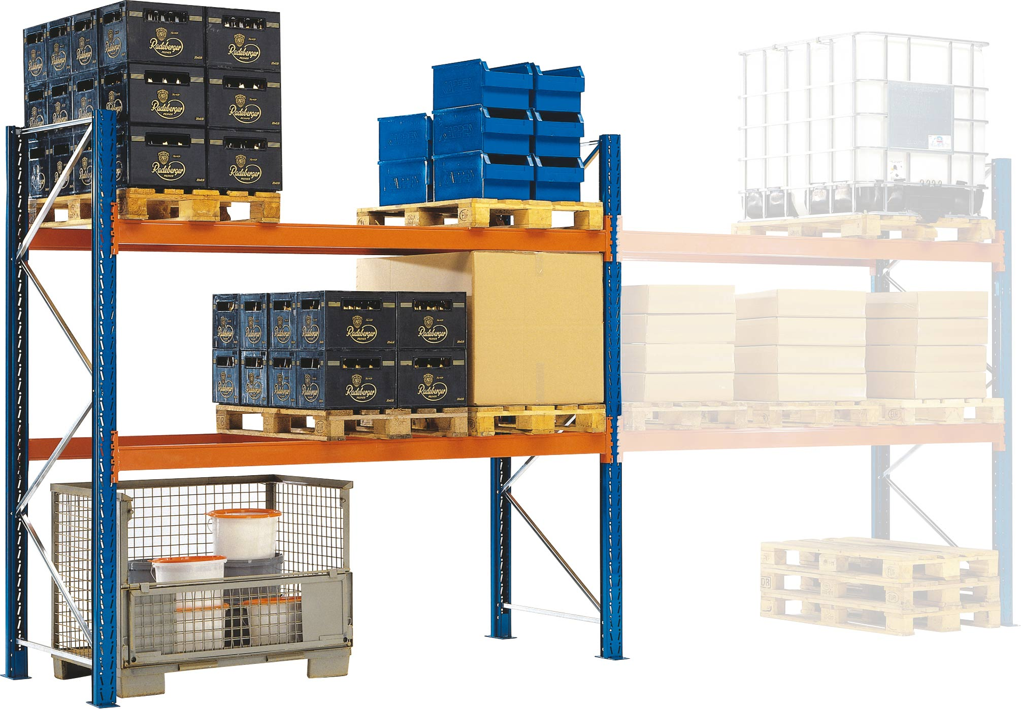 Regalwerk KENO Palettenregal 90|50 Grundfeld 2100 x 2700 x 750 mm Fachlast 2120 kg - 2 Ebenen - für Quereinlagerung (RW-B4-52131-750) Bild-01