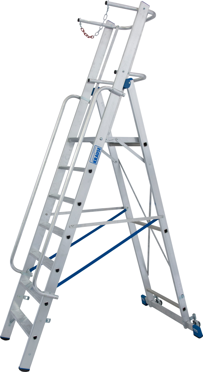 Krause Alu-Stufenstehleiter mit großer Standplattform SB 7 Stufen