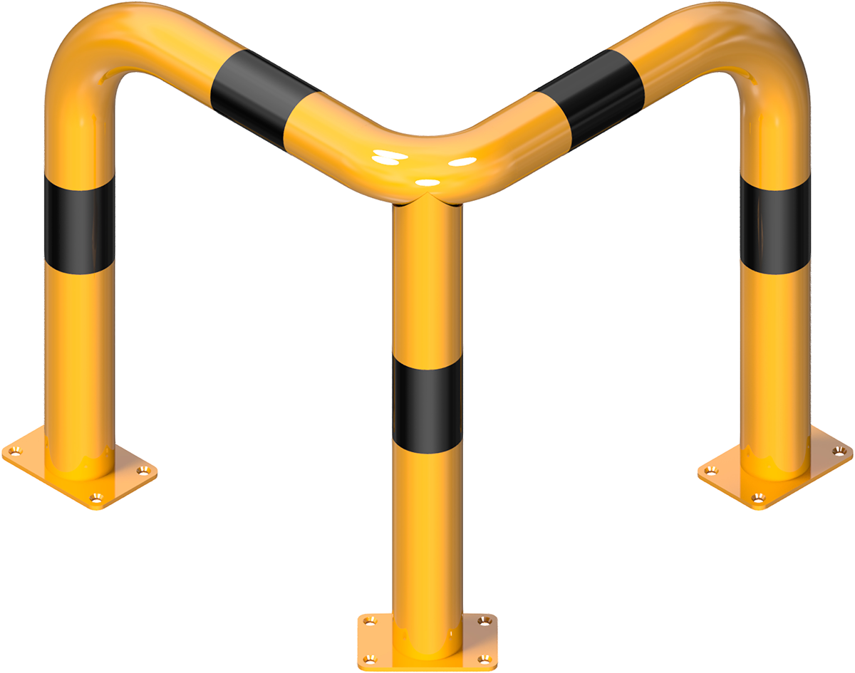 Schake Rammschutzbügel Stahl 90° gleichschenkelig Ø 76 mm - gelb | schwarz