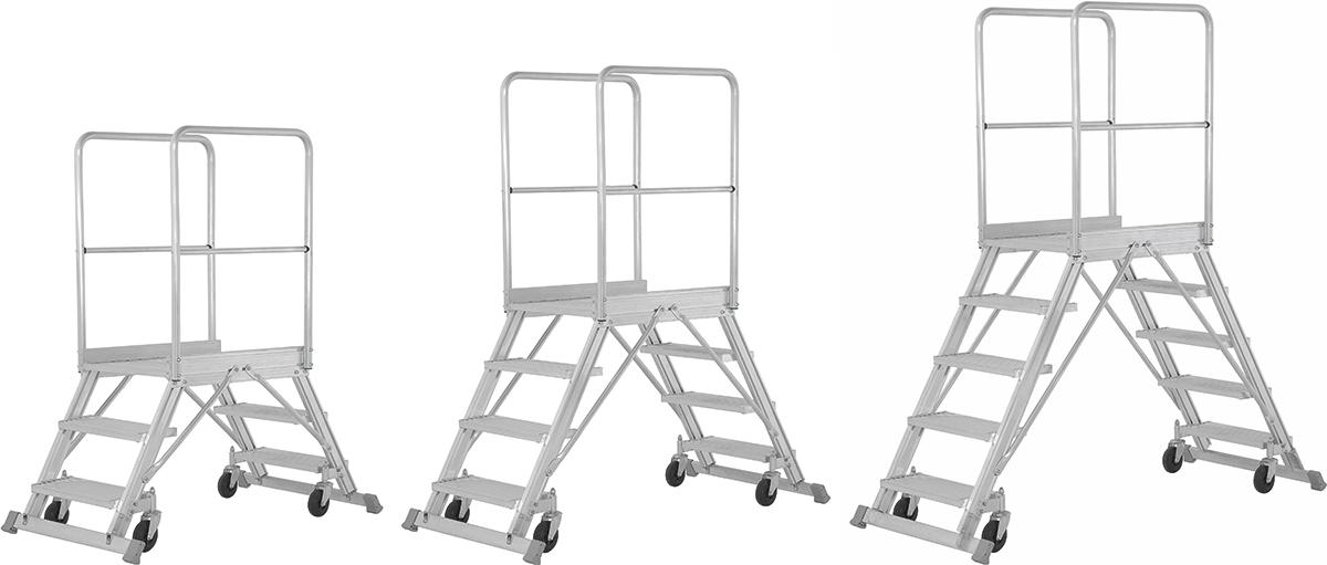 Hymer Podesttreppe fahrbar 2x3 - 2x8 Sprossen