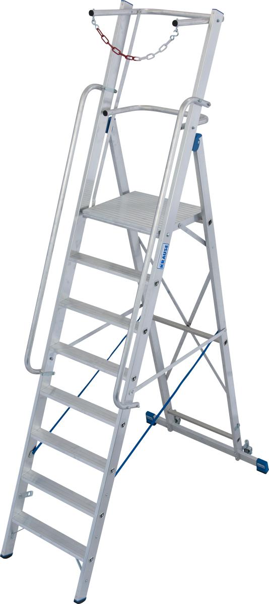 Krause Alu-Stufenstehleiter mit großer Standplattform SB 14 Stufen