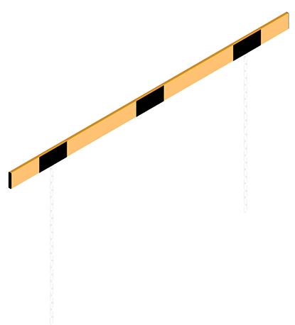 Schake Höhenbegrenzer Barriere 100 x 50 mm mit Ketten gelb | schwarz Alubarriere mit Stahlketten - verschiedene Ausführungen (SK-C-4117.20BG) Bild-02