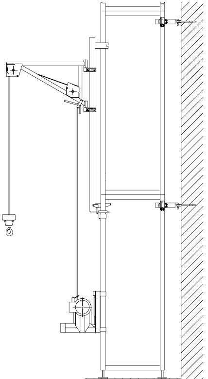 Montage-Skizze für Böcker Minilift mit optionalem Schwenkarm