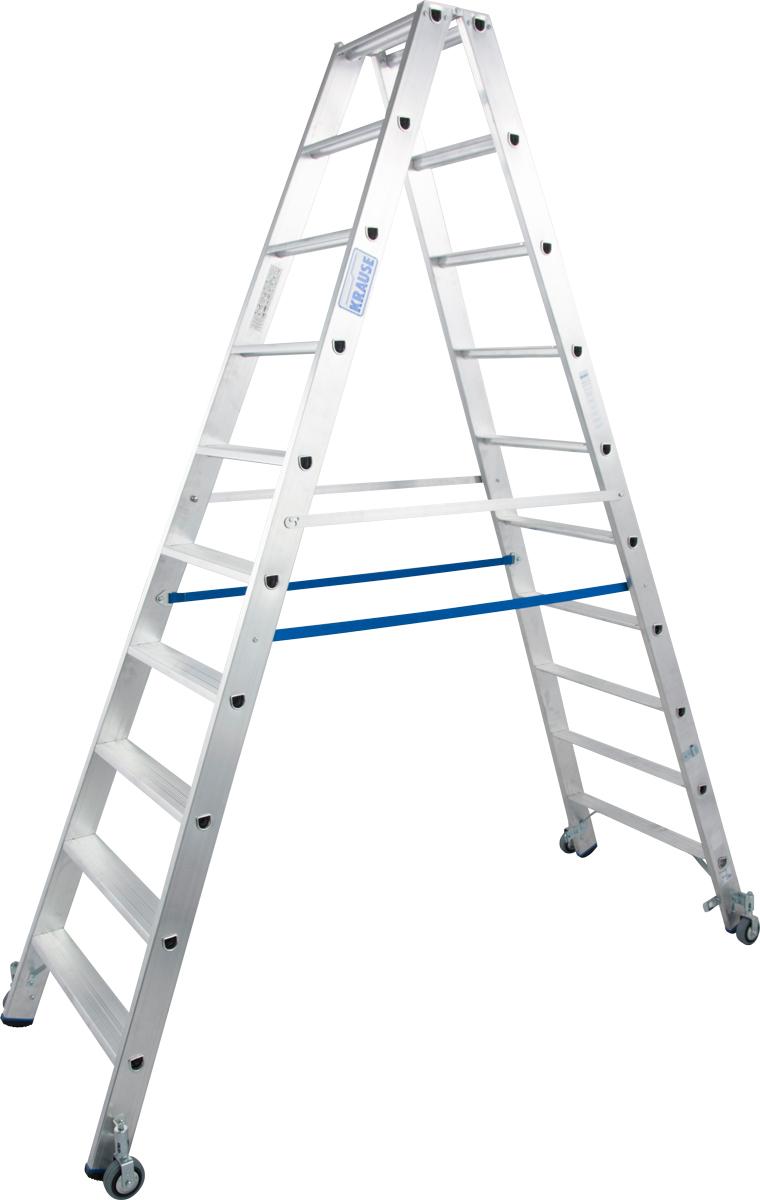 Krause Alu-Stufendoppelleiter fahrbar 2x10 Stufen