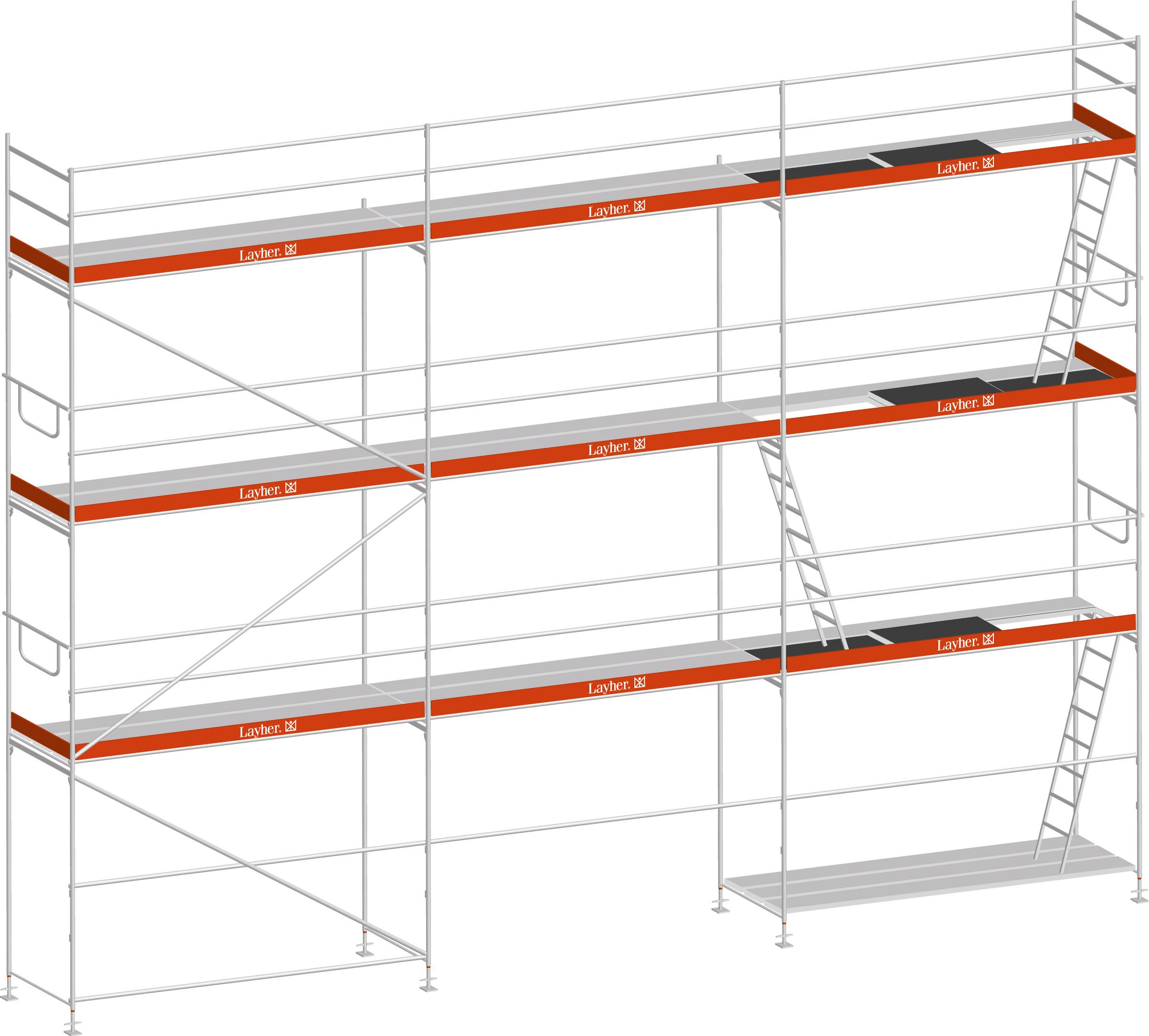 Layher Blitz Gerüst 100 Stahl 63 m²