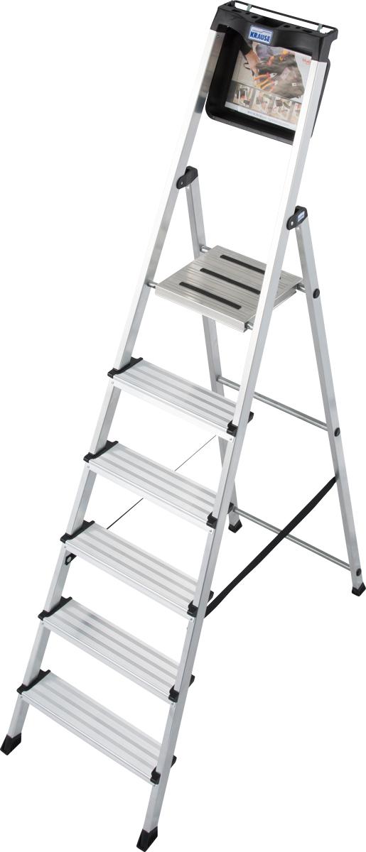 Krause Alu-Stufenstehleiter Secury mit MultiGrip 6 Stufen