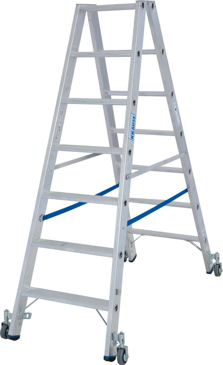 Krause Alu-Stufendoppelleiter fahrbar 2x7 Stufen