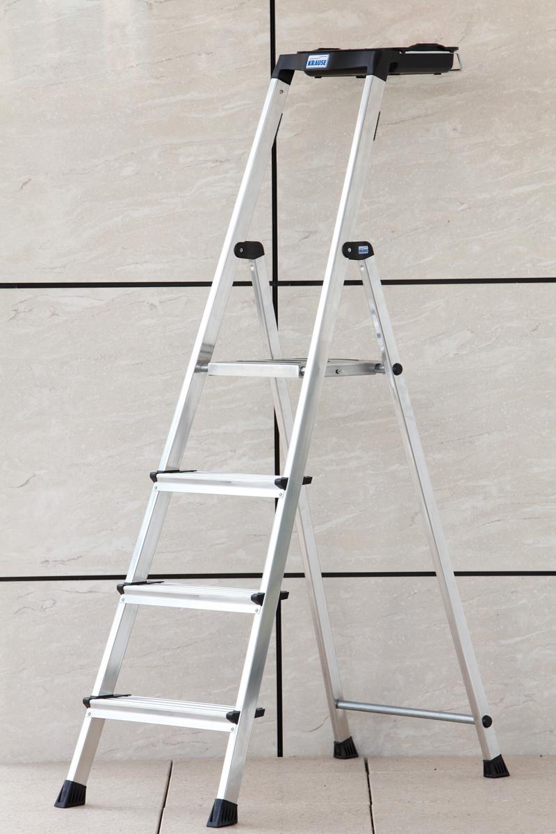 Krause Alu-Stufenstehleiter Secury mit MultiGrip 4 Stufen