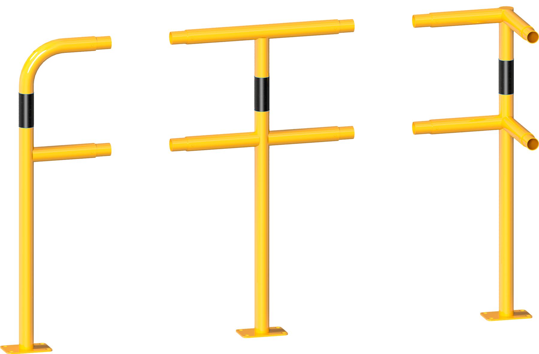Schake Schutzgeländer Stahl Stecksystem Pfosten Ø 48 mm gelb | schwarz