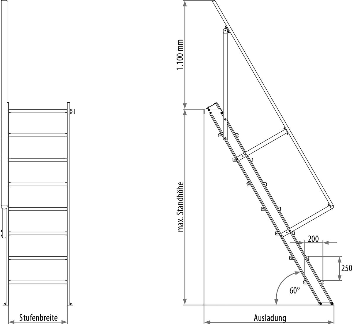 Hymer Treppe 60° 4 Stufen - 600 mm