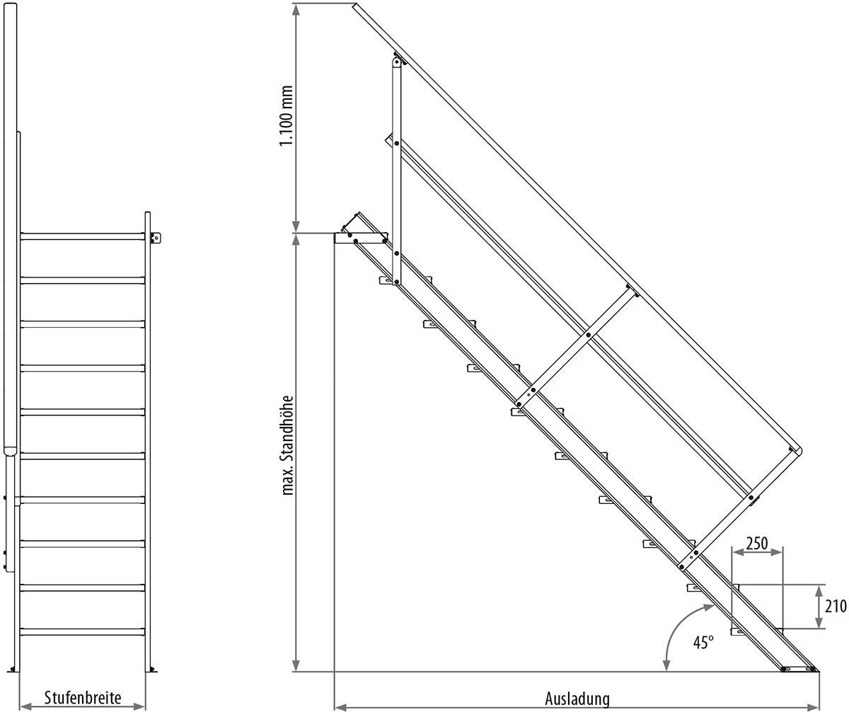 Hymer Treppe 45° 4 Stufen - 1000 mm