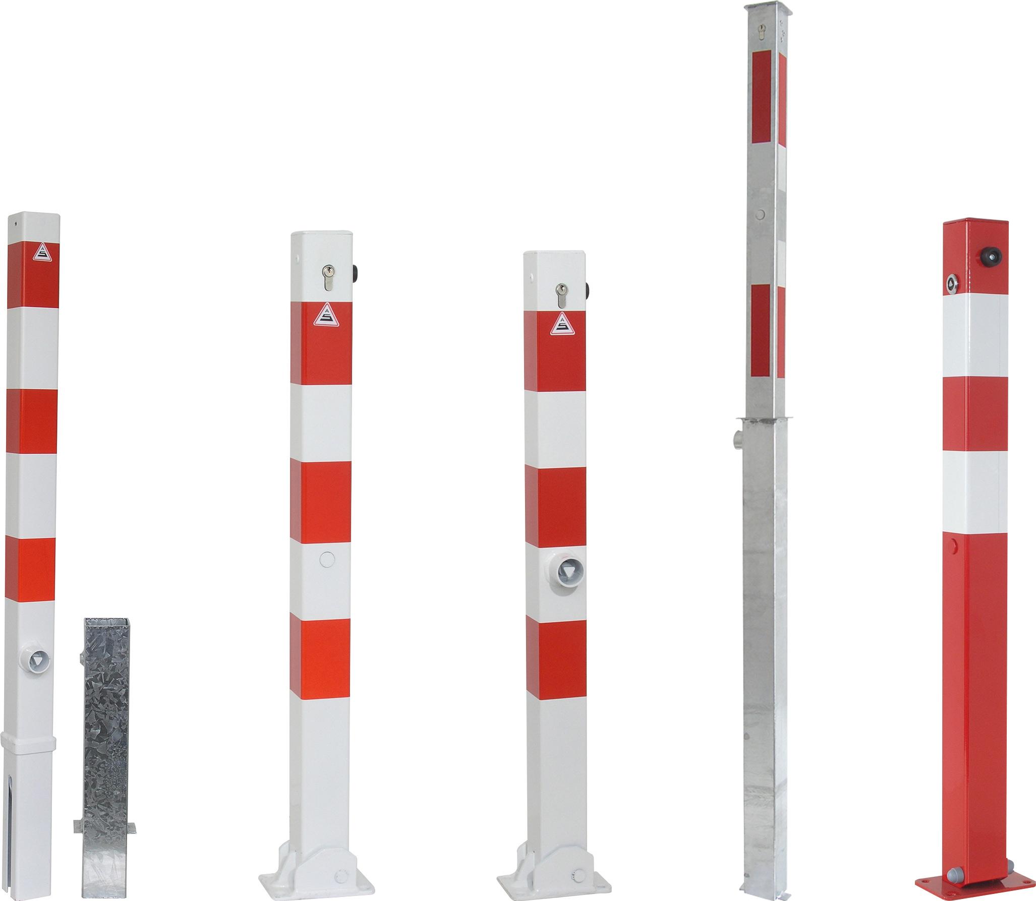 Schake Absperrpfosten Stahl 70 x 70 mm weiß | rot