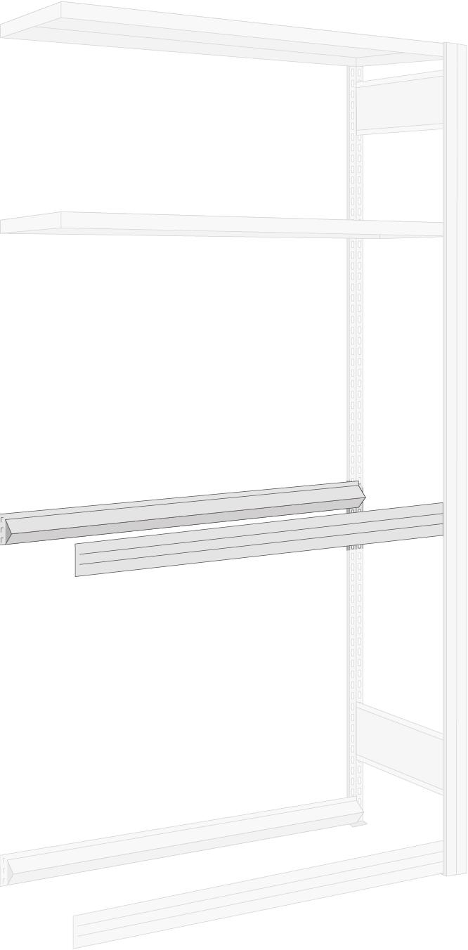 Regalwerk Garagenregal Zusatzebene Stufenbalken 1005 x 400 mm für Räderlagerung - Fachlast 250 kg - Paar (RW-B3-27210-K) Bild-01