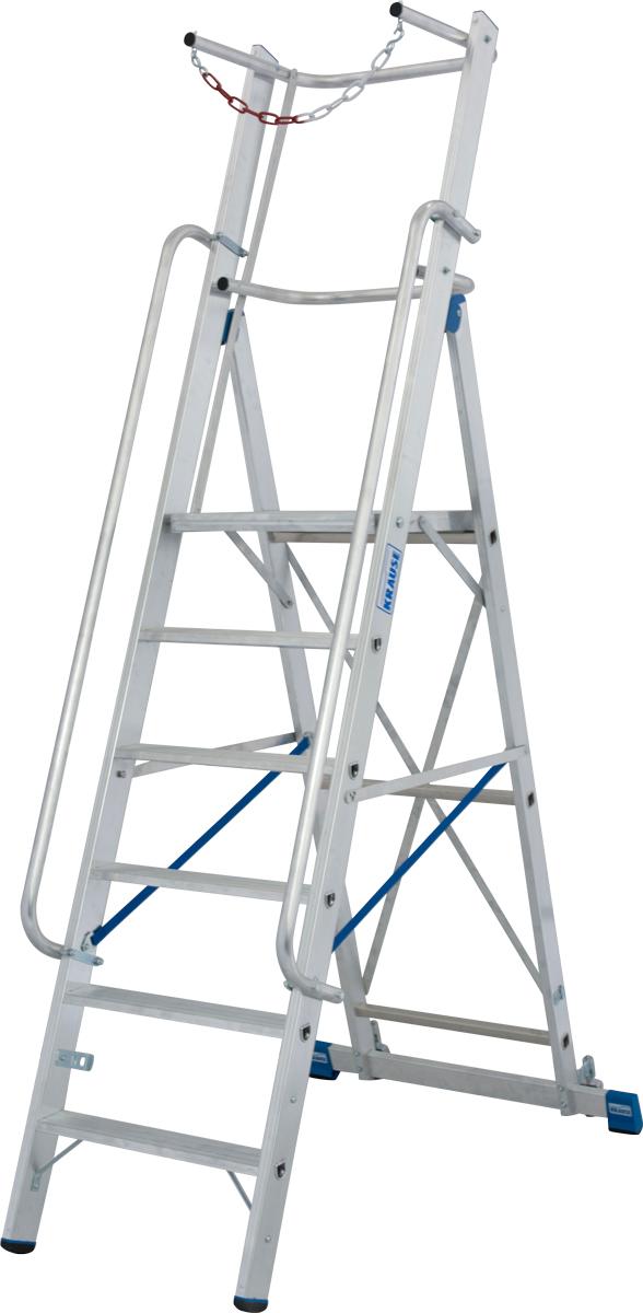 Krause Alu-Stufenstehleiter mit großer Standplattform SB 6 Stufen