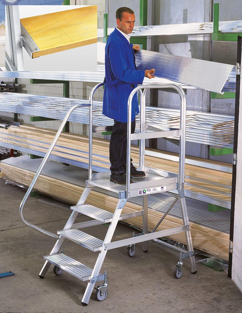 Günzburger Alu-Podestleiter 3 - 8 Stufen Holz