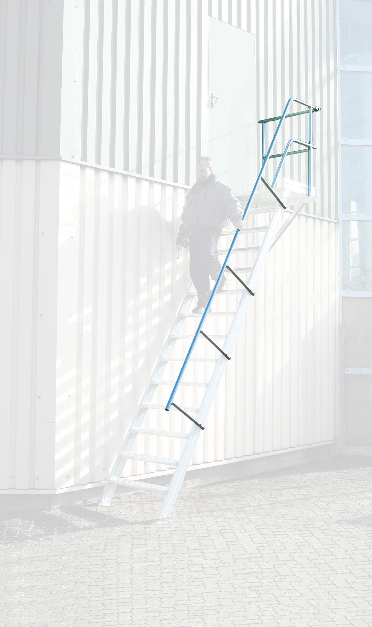 euroline Treppen- | Podestgeländer Podesttreppe 45° 4 Stufen