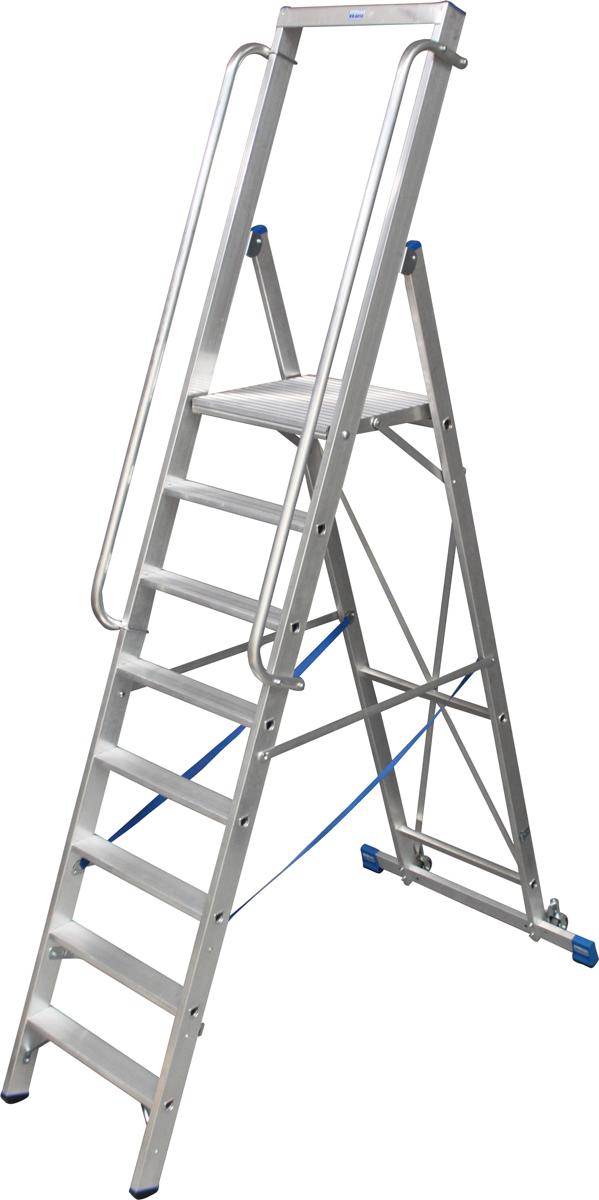 Krause Alu-Stufenstehleiter mit großer Standplattform 8 Stufen