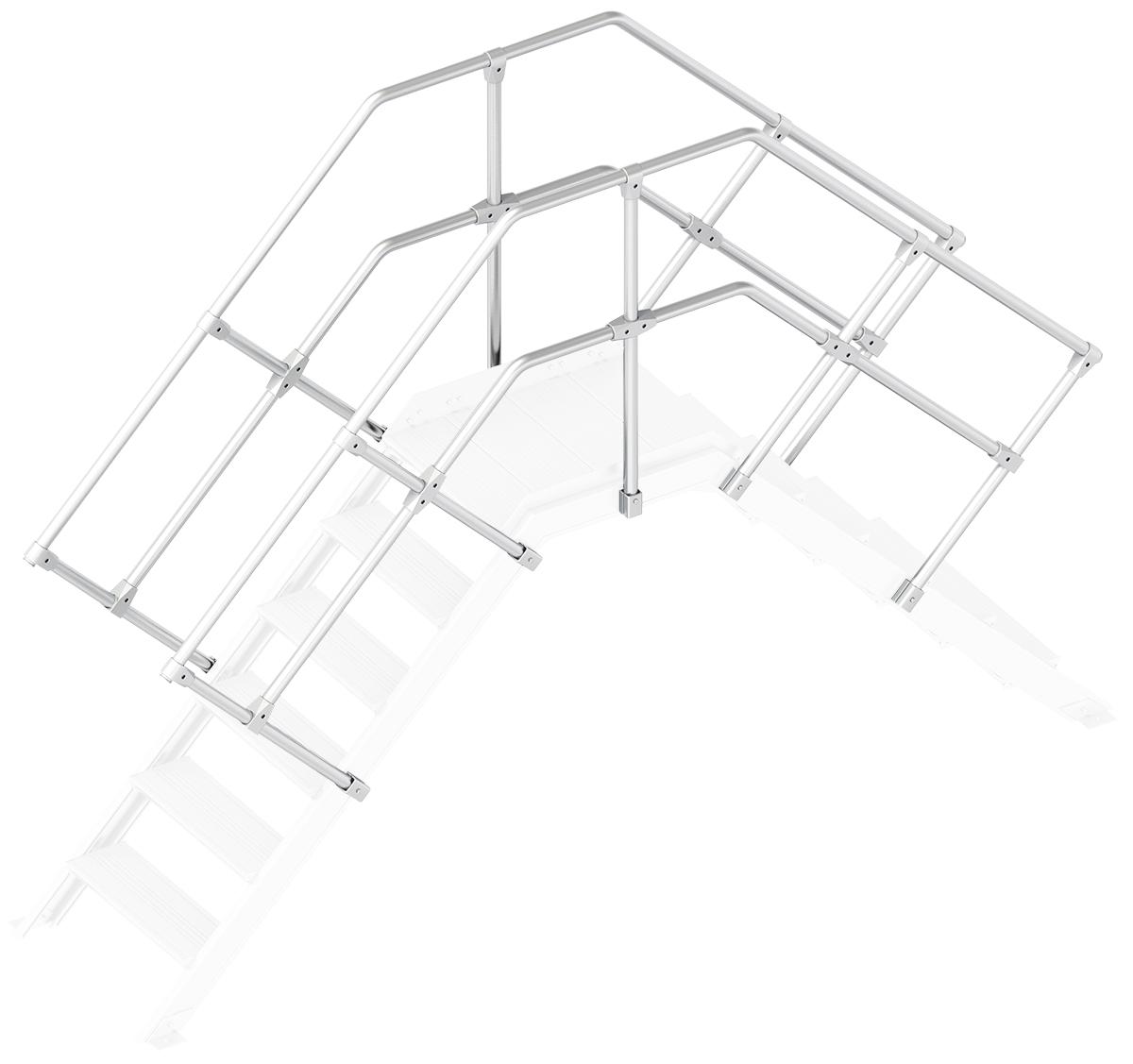 Layher Handlauf Geländer Übergang 45° 6 Stufen