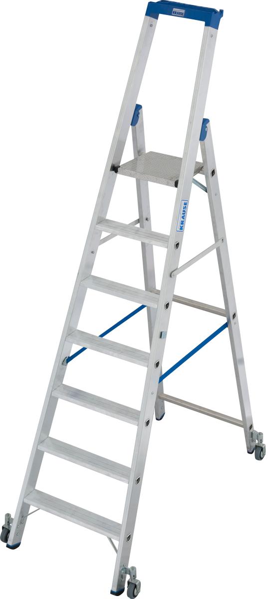 Krause Alu-Stufenstehleiter fahrbar 7 Stufen