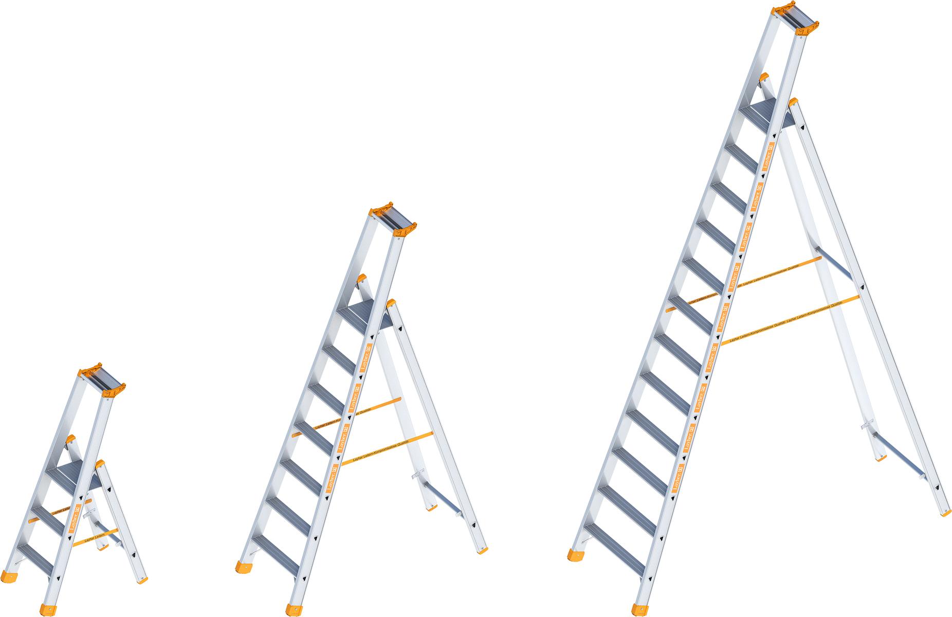 Layher Stehleiter Alu Stufen einseitig begehbar
