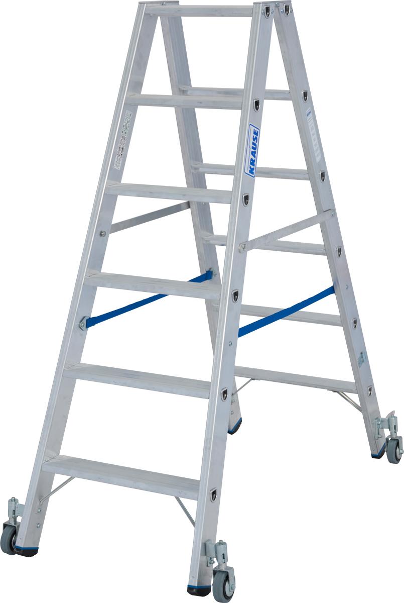 Krause Alu-Stufendoppelleiter fahrbar 2x6 Stufen