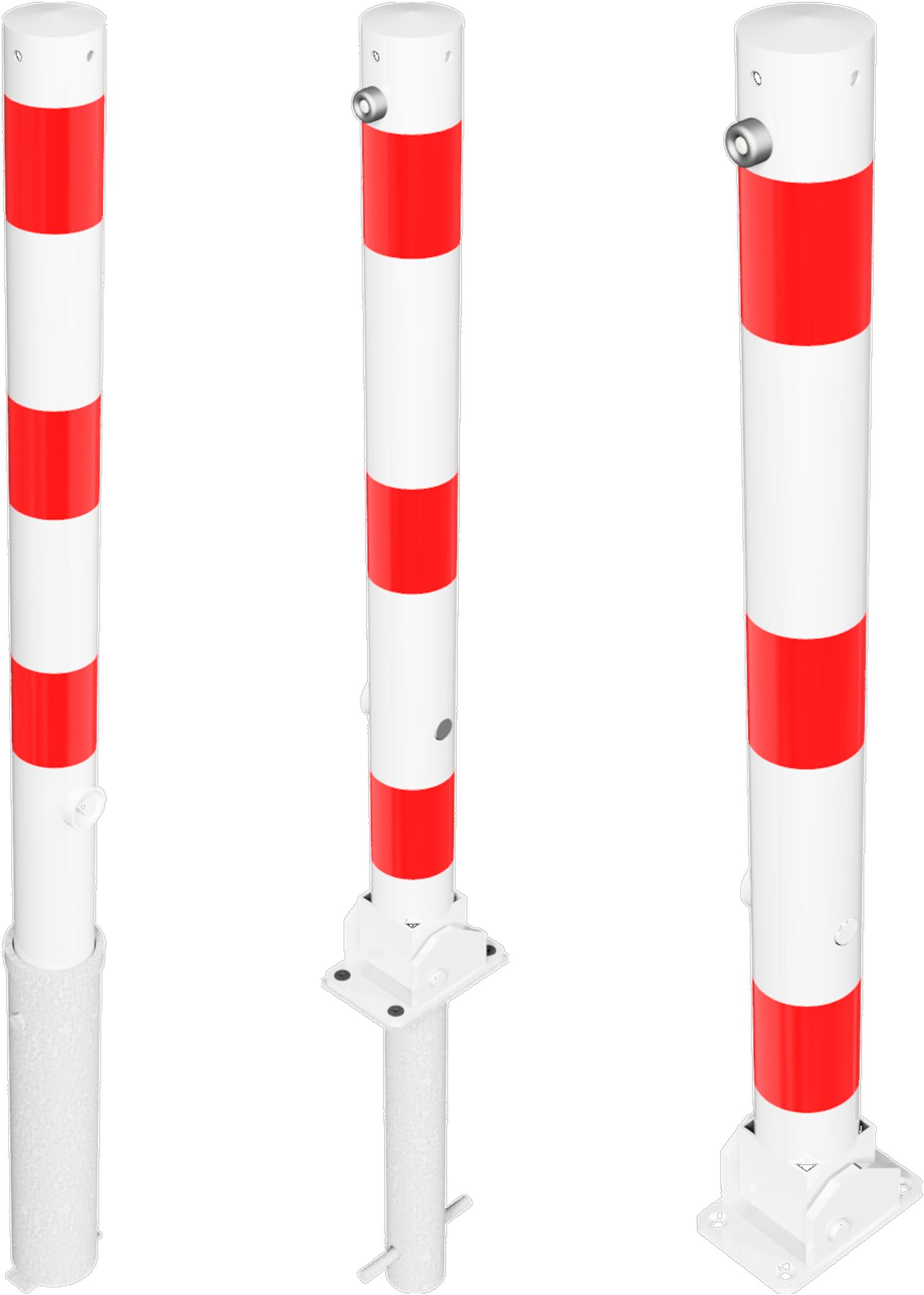 Schake Absperrpfosten Stahl Ø 76 mm weiß | rot