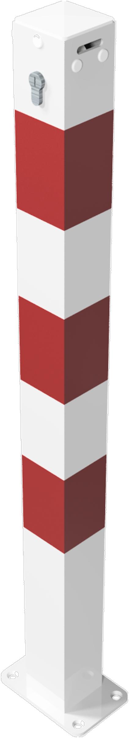 Schake Absperrkettenpfosten Stahl 70 x 70 mm weiß | rot