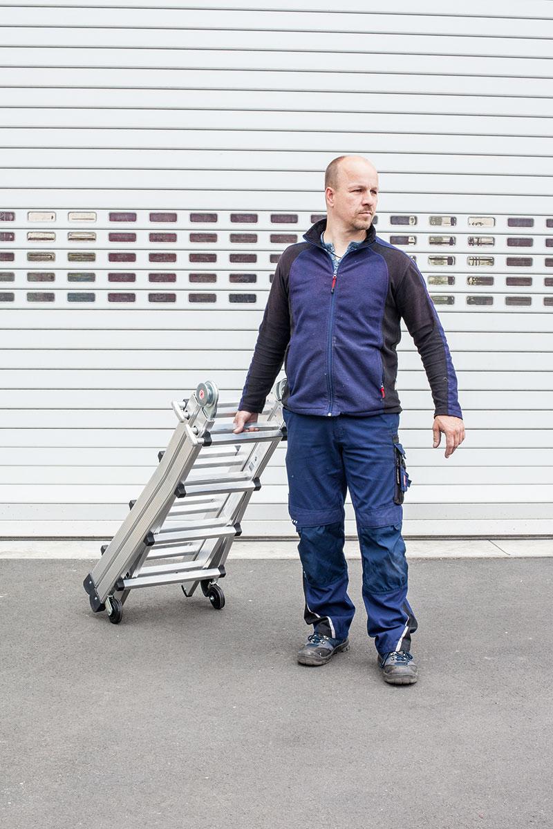 euroline Vario Klappleiter PREMIUM Alu mit Rollen Sprossen