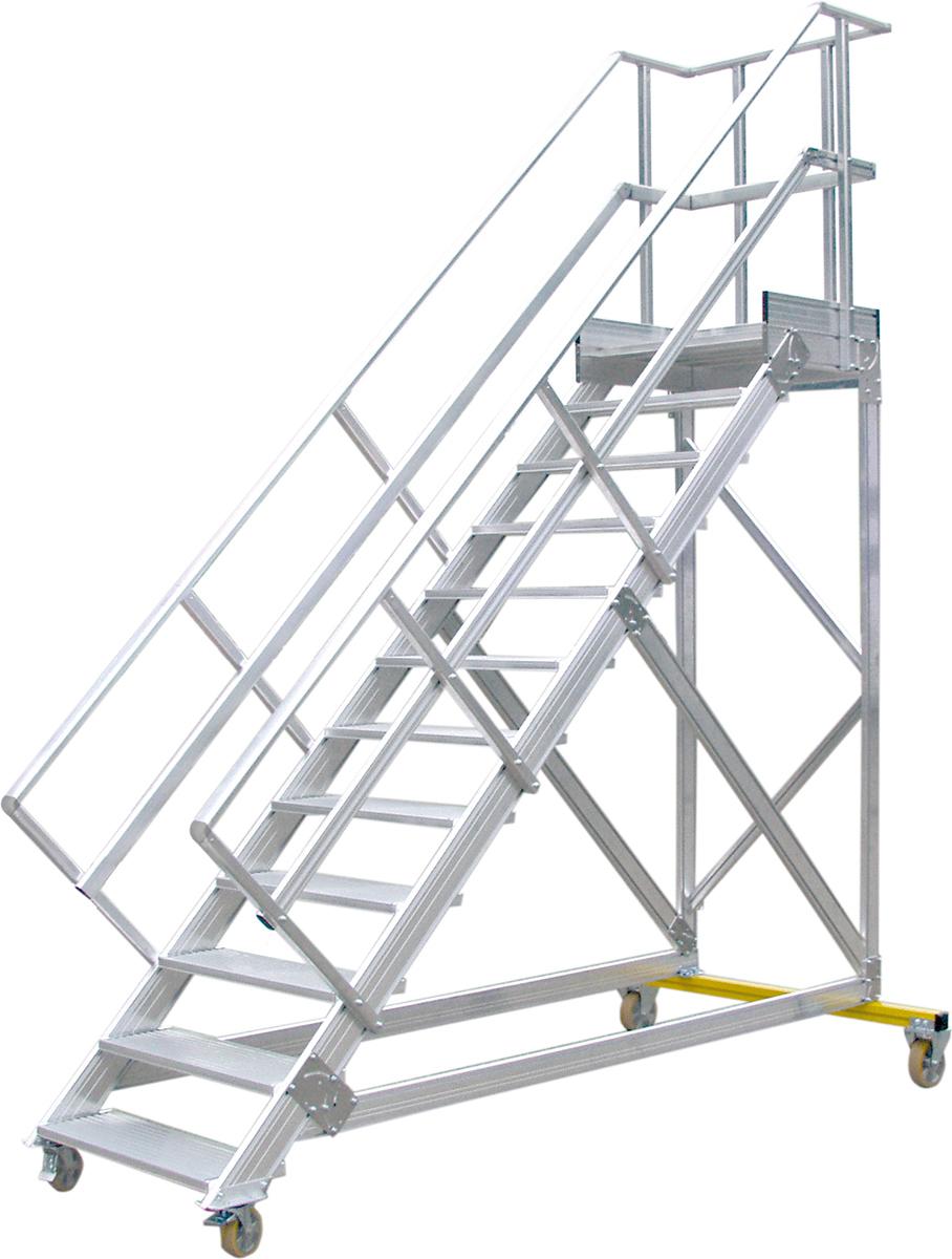Hymer Podesttreppe fahrbar 45° - 600 mm breit - mit umlaufendem Geländer