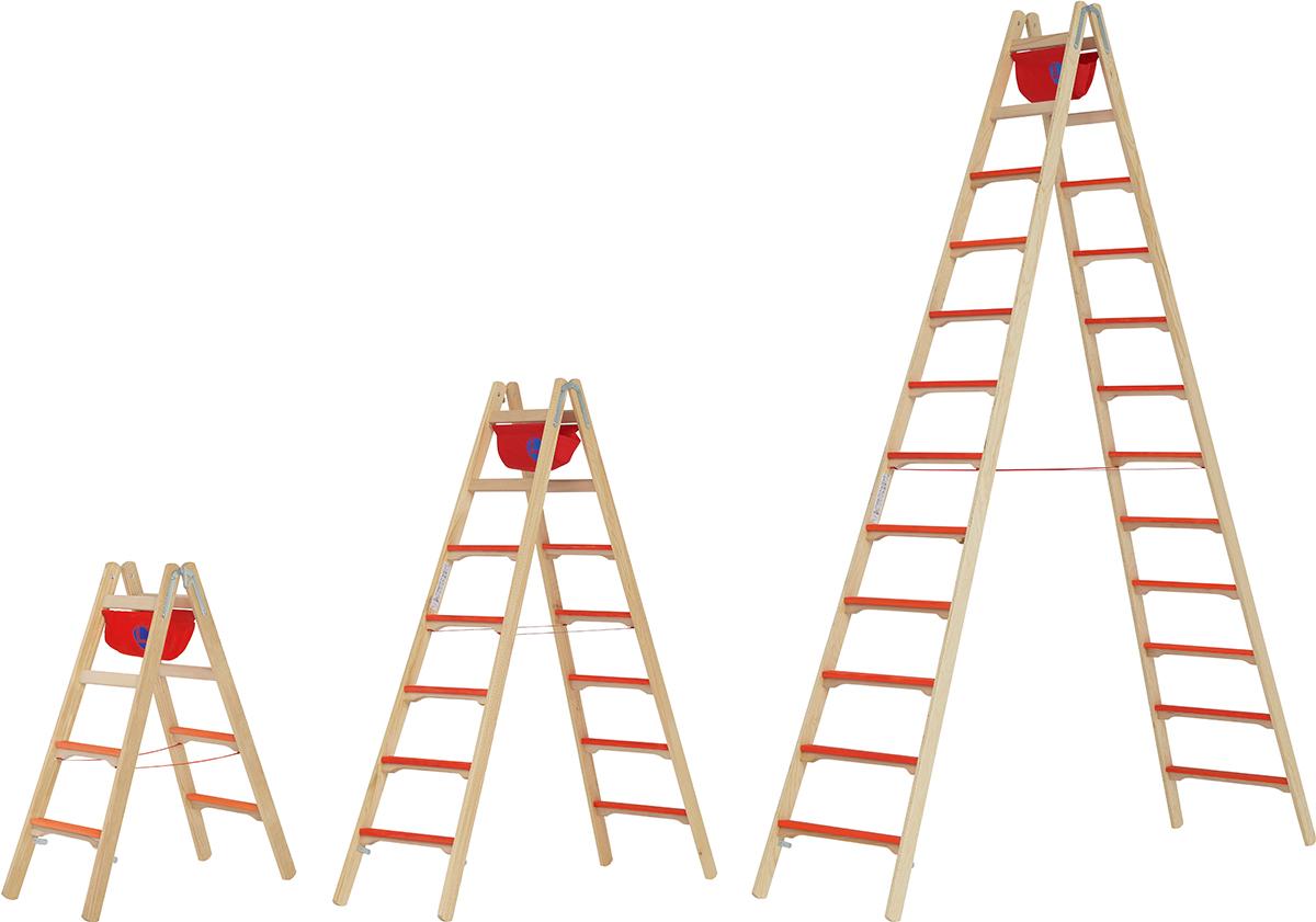 Hymer Stehleiter Holz 2x4 - 2x12 Breitsprossen