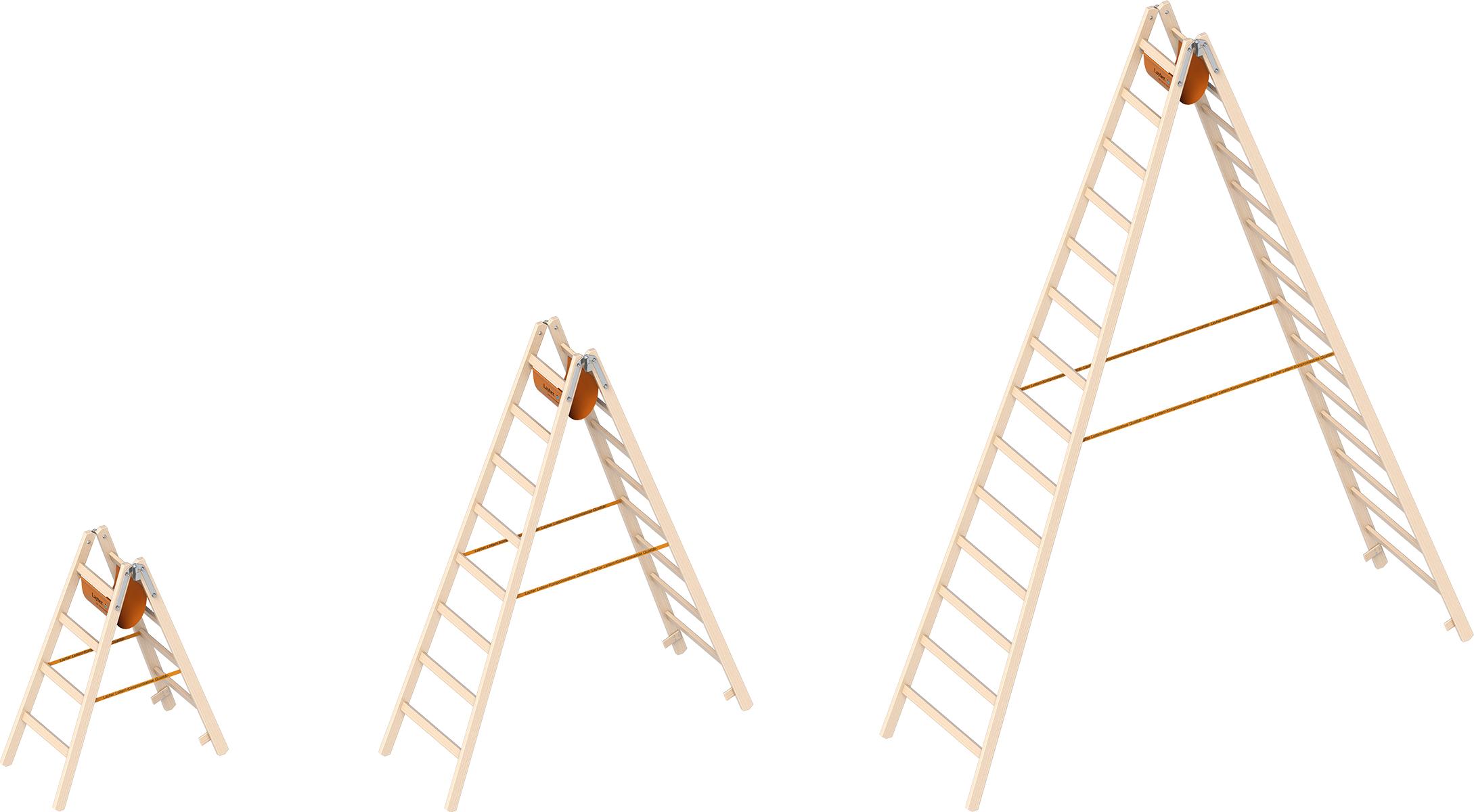 Layher Stehleiter Holz Breitsprossen